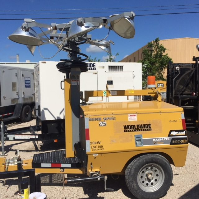 Portable Light Towers For Rent: Allmand 20kW Maxi-Lite V Series Portable Light Tower