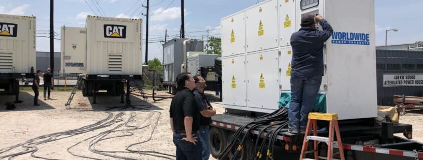 Generator load bank test by WPP technician