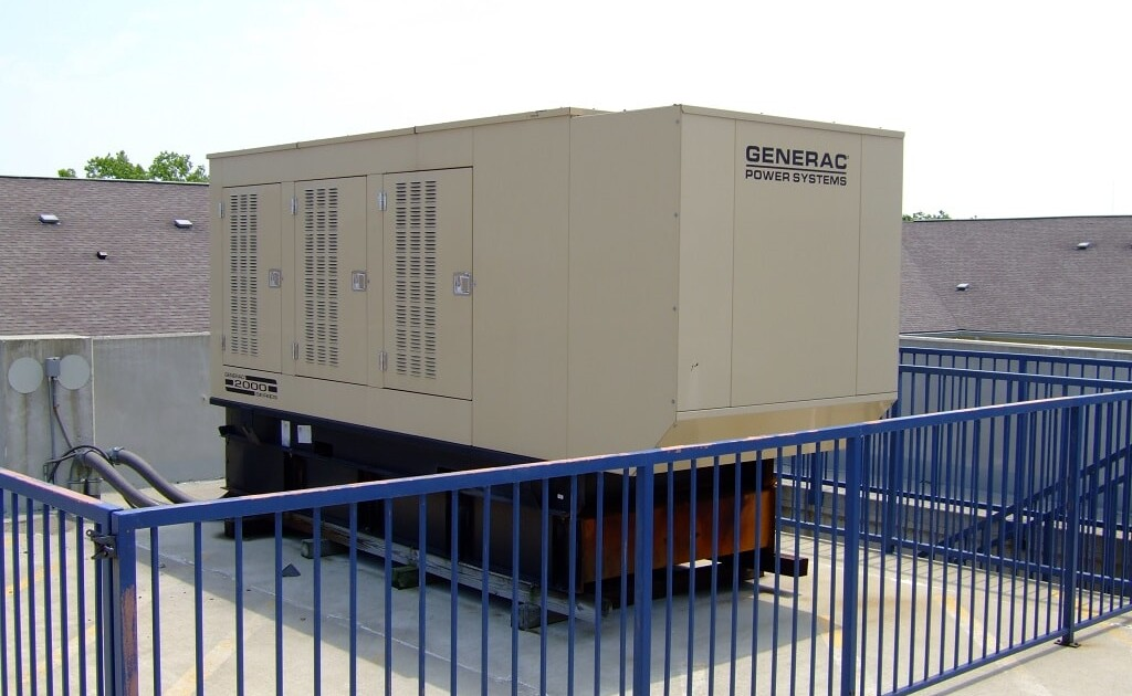 Commercial standby generator on rooftop