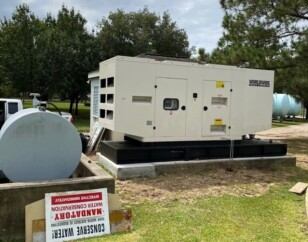 Standby generator outside on concrete pad
