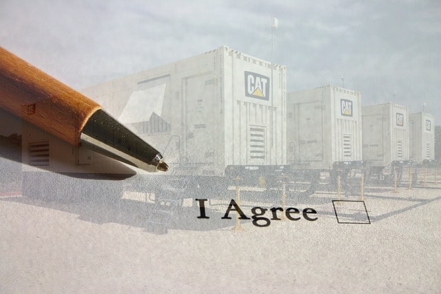 "Generator rental contract - ""I agree"" checkbox"