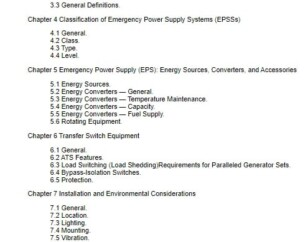 NFPA 110 contents page