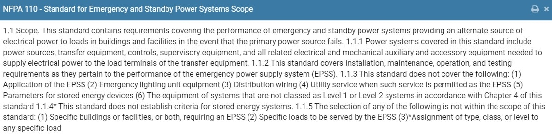 NFPA 110 scope