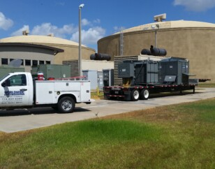 Service load bank with transformer at water plant