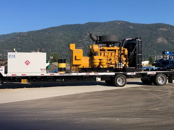 Generator arriving on-site for installation