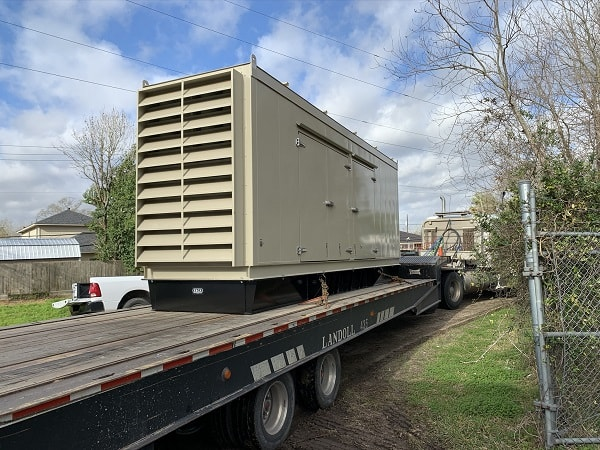 Generator being transported on truck