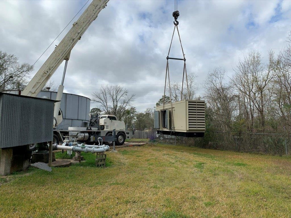 Multiple MUD project - generator being hoisted by crane